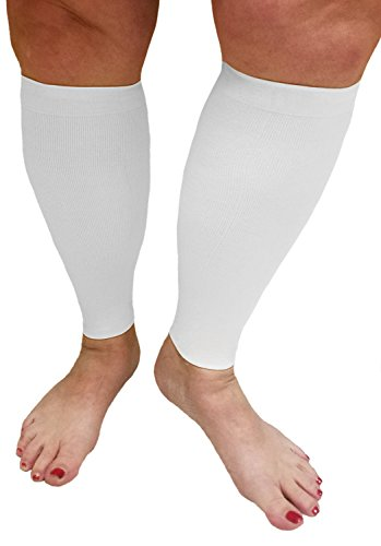 Compression Calf Sleeves Extra Wide - Soothing Gradient Support. XX-Wide Legs, Compression 18-20mmHg at Ankle and 14-16mmHg at Calves, Comfortable Tall Cuffs. Maximum stretch to 27 in. Unisex, white by Boston Enterprises (Image #1)