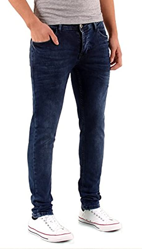 ESRA męskie spodnie jeansowe Slim Fit Basic Jeans spodnie stretch dżinsy A447: Odzież