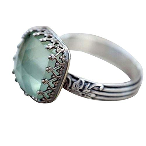 DONGMING Vintage Square Faux Gemstone Ring Women Proposal Engagement Ring Cocktail Party Jewelry Size 6-10,Mint Green ()