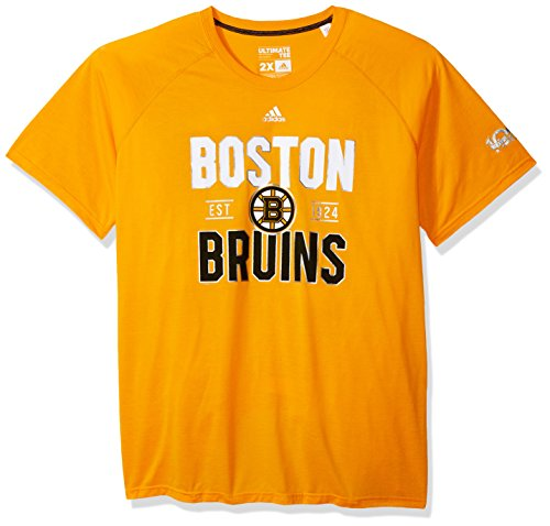 adidas NHL Boston Bruins Mens Centennial Convergence Ultimate S/Teecentennial Convergence Ultimate S/Tee, Gold, - Bruins Mens T-shirts Boston