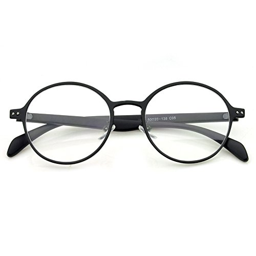PenSee Oval Round Circle Eye Glasses Large Oversized Metal Frame Clear - Oval Glasses Circle