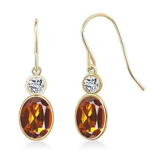 - 1.68 Ct Oval Orange Red Madeira Citrine White Topaz 14K Yellow Gold Earrings