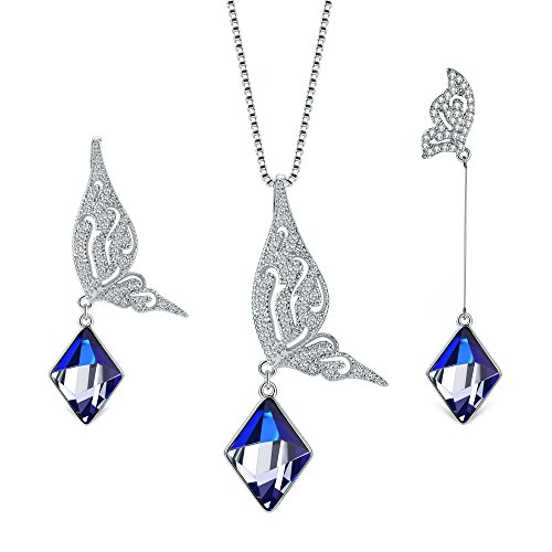 Butterfly Jewelry Set, T400 Changing Color Diamond Shape Pendant Necklace and Earrings Made with Swarovski (Diamond Set Butterfly Pendant)