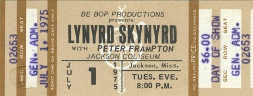 Lynyrd Skynyrd 1975 Unused Concert Ticket Peter Frampton
