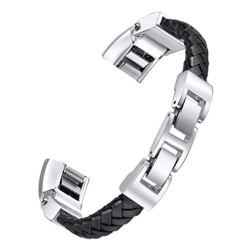 baybayite Leather Bands Compatible Fitbit Alta and Alta HR, Adjustable Metal Buckle Leather Wristband, Cord Braided Black Large 6.7 - 8.1
