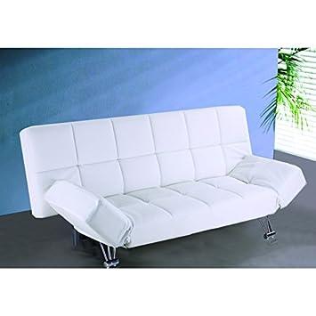 Centro Hogar Sánchez Sofá Cama Clic clac Modelo Polo tapizado en Polipiel. Color Blanco