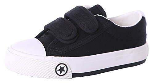 Femizee Boys Girls Classic Casual Basic Canvas Shoes Fashion Sneakers(Toddler/Little Kid/Big Kid),Black 1314 (Basic Canvas Shoes)