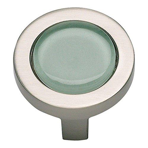 Atlas Homewares 229-GR/BRN 1-1/4-Inch Spa Green Round Knob, Brushed Nickel