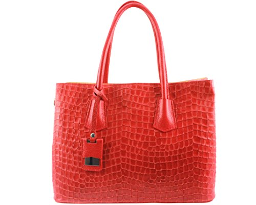 Rouge Italie Femme Cuir Croccolina Coloris Sac Chloly Plusieurs Clair 0gSwnz1q