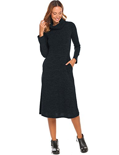 Women's High Neck Long Sleeve Knitted Casual Sweater A Line Midi Dress Black,XL (In Black Ashley Dress)