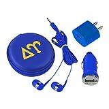 CollegeFanGear Delta Upsilon 3 in 1 Royal Audio Travel Kit 'Greek Letters 2 Color'