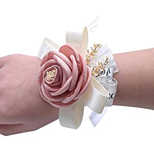 MerryJuly Pack of 2 Wrist Corsage for Prom Wedding Bridal Flower Wristband Artificial Flower for Bride Bridesmaid 88