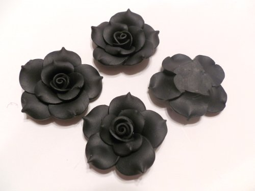 New 4 Large Fimo Polymer Clay Rose Flower Black Beads 40mm No