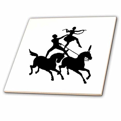 3dRose ct_279977_1 Image of Circus Horses with Man and Woman in Black and White Ceramic Tiles, by 3dRose