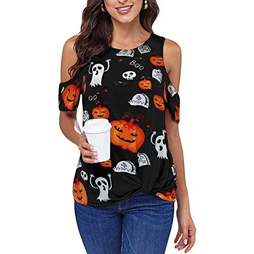 Women Pumpkin Ghosts Boo Print Halloween Tee Shirts Cold Shoulder Twist Knot Blouse (Black, Small)