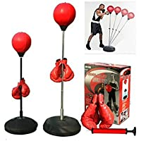 Boxing punching speed ball boxing bag anti stress fitness with boxing glove for Teenagers and Adults Adjustable 48' to 59' in Height New