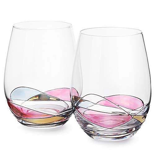(DAQQ Stemless Wine Glasses - Set of 2 Coloured Crystal Hand Painted Stemless Wine Glasses - Dishwasher Safe - 22 Oz Large Glasses for Red and White Wine - Unique Gift - Elegant Gift Box)