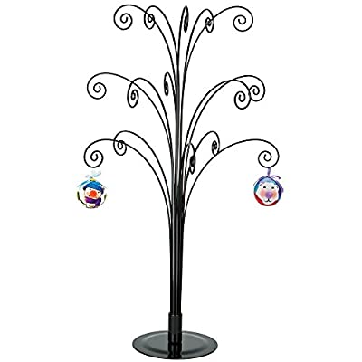 HOHIYA Metal Ornament Display Tree Stand Christmas Halloween Ball Bauble Ornaments Hanger Hook Gift 20inch(Black)