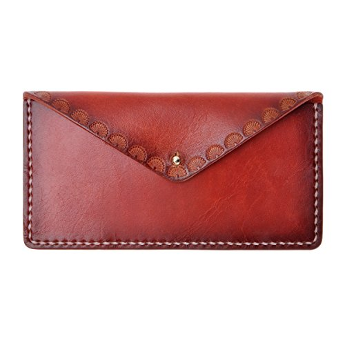 ZLYC Women Handmade Vegetable Tanned Leather Long Minimalist Slim Wallet Clutch, Red