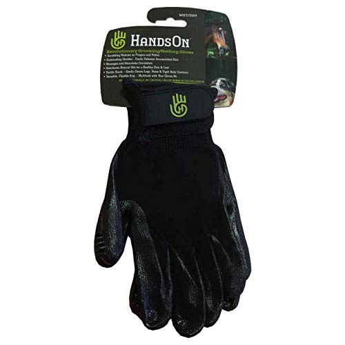 #1 Ranked, Award Winning HandsOn Gloves for Shedding, Bathing, Grooming, De-Shedding Horses/Dogs/Cats/Livestock/Small Pets - Black LARGE