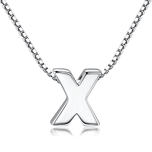 Candyfancy Initial Necklace 925 Sterling Silver Alphabet Personalized A-Z Letter Pendant Necklace for Women Girls Gift with 18
