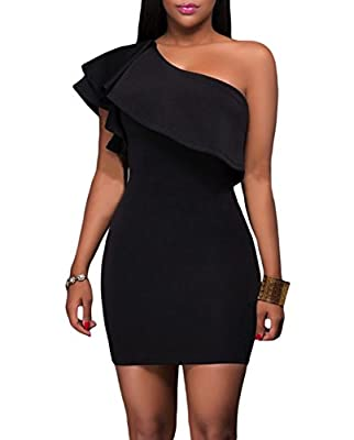 Cfanny Women Sleeveless Asymmetric Ruffled Sexy Bodycon Party Club Dress