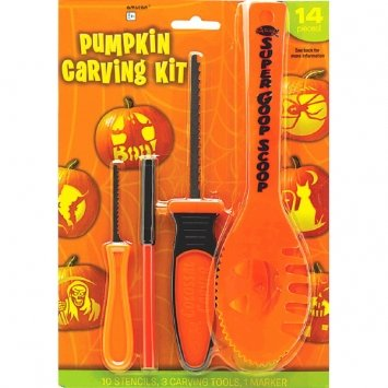 Halloween Decoration Tools ~ 14 Pc Halloween Basic Jack O Lantern Pumpkin Carving Kit with stencils - Cute Halloween Pumpkin Carving Stencils