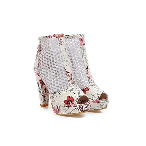 Peep Sandals PU Assorted Heels RoseRed Color WeenFashion Zipper High Women's Toe tYwTq1