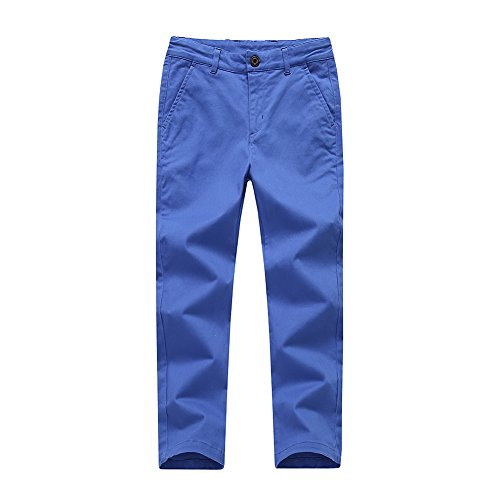 Boys Pants Chino Uniform School Cargo Slim Fit Trousers Adjustable Waist Pants for Boys Size 4-12 Years 6 Colors to Choose