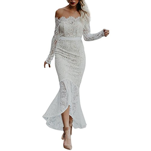 Women's High Low Dress,Leedford Women's Vintage Off Shoulder Floral Lace Long Sleeve Hi-Lo Cocktail Formal Bodycon Dress (M, White)