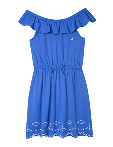 Nautica Girls' Toddler' Patterned Sleeveless Dress, Bright Blue Ruffle, - Girls Blue Dress Ruffle