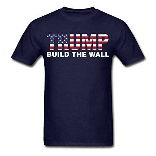 - Trump Build The Wall Pro Election President Cotton Novelty Men Funny Fashion T-Shirt Navy Small
