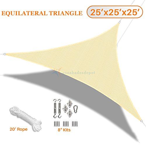 Sunshades Depot 25 x25 x25 Tan Beige Sun Shade Sail with 8 Inch Hardware Kit – Equilateral Triangle UV Block Durable Fabric Outdoor Canopy – Custom