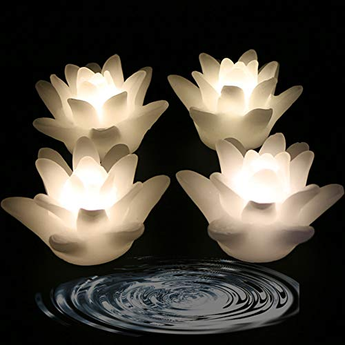 LACGO 3'' Wedding Novelty Candles Real Wax Flameless Floating Flicker LED Candle, LED Water Activated Flower Shaped Candle, for Home, Party and Festival Decoration(Lily, Warm White, Pack of ()