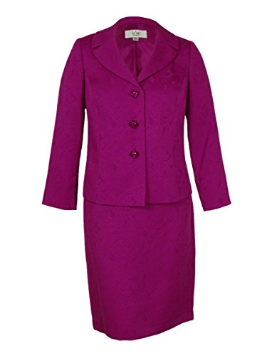 Le Suit Women's Plus-Size Three Button Jacket and Skirt Set, Berry, 22