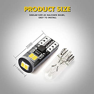 Besbul 194 LED Bulbs, Ultra Bright 6000K Universal Fit T10 LED Bulb White, 168 LED Bulb, 2825 LED Bulb, W5W LED Bulb, 194 White LED Interior Light for Car, Pack of 10: Automotive