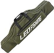 Yontree Folding Fishing Gear Tackle Fishing Rod Case 600D Waterproof Oxford Cloth Fishing Pole Tools Storage B