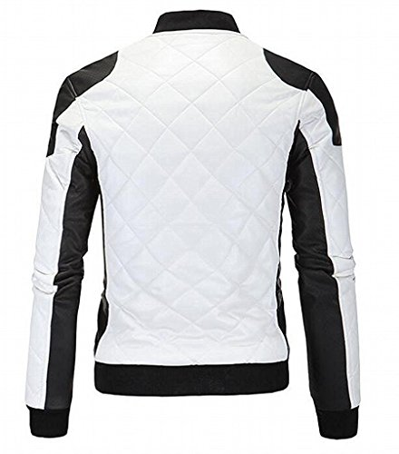 LeNG Men's Hisper Stand Collar Zip Up Color Blocked Jacket Fashion WhiteUS Small