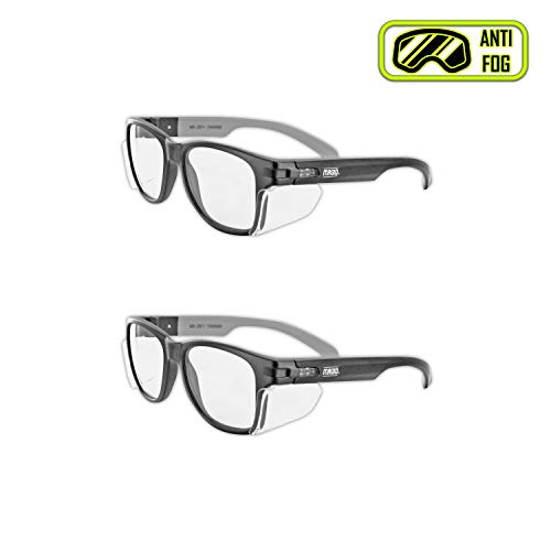 MAGID Y50BKAFC Iconic Y50 Design Series Safety Glasses with Side Shields | ANSI Z87+ Performance, Scratch & Fog Resistant, Comfortable & Stylish, Cloth Case Included, Clear Lens (2 ()