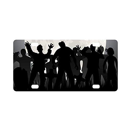 Aoxiananclicensecover Halloween Zombies Tombstones and Full Moon On The Cemetery Automotive Metal License Plates Decor Decoration, Car Tag for Woman Man - 12 x 6 Inch]()