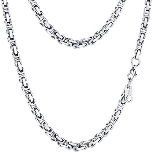 (PROSTEEL 4MM Stainless Steel Necklace for Men Jewelry Byzantine Chain Link Silver Tone, 30)