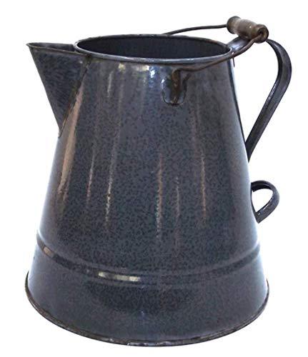 Large Antique Mottled Gray Splatter Enamelware Coffee Pot Graniteware ()