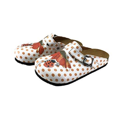 Flysoft Bonito Women's Clogs and Mules (6, White Ladybug)