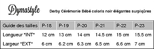 3 Babyschuhe Hochzeit Schnürung Löcher schwarze Farbe - Schwarz - P-18