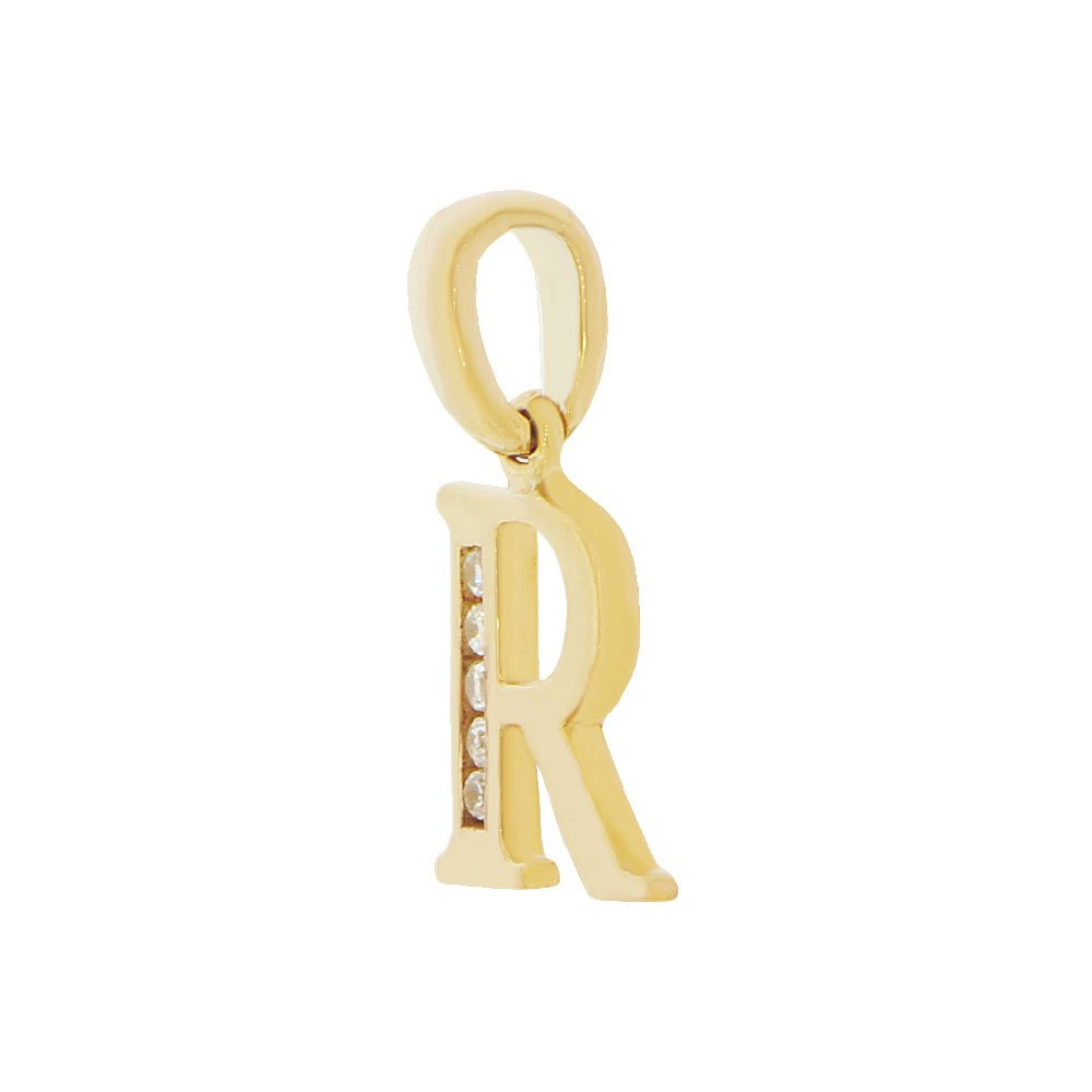 Small Initial Capital Letter R Pendant Charm Created CZ 11mm Wide 14k Yellow Gold