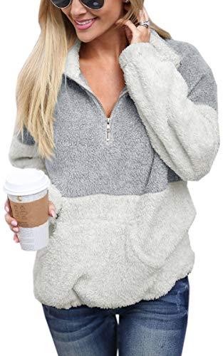 Angashion Womens Long Sleeve Half Zip Fuzzy Fleece Pullover Jacket Outwear Sweatshirt Tops Coat with Pocket Black S ()