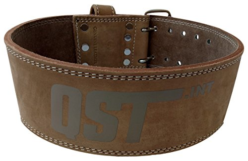 QST Premium Top Grain Leather Workout Belt, Full Lumbar Support, 4'' L, Large