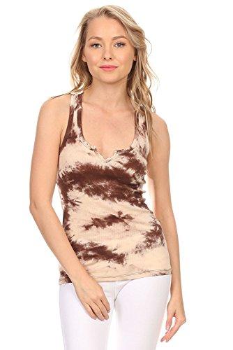 La Vie Design Women's Casual Tie Dye Summer Tank Top with Crochet Lace Cami Racerback Shirt (Large, Brown)