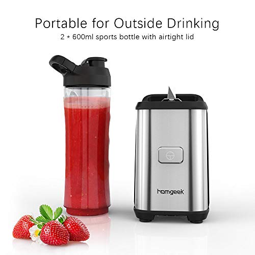 Blender Smoothie Maker, homgeek Personal Mini Blender with 2 * 600ml Portable Travel Sport Bottles for Milkshake, Fruit and Vegetable Drinks, Ice, 350W, Silver