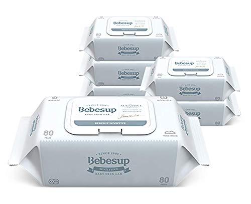 Bebesup Sensitive Embossed Premium Baby Wipes for Sensitive Skins. 65 GSM, Flip Top - Unscented, Free of Alcohol, Paraben, Phenoxyethanol, Perfume, CMIT, Intertek Tested. Made in Korea (6 Pack)
